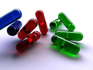 Blue, red and green capsules