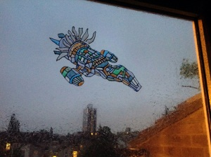 Stained glass spaceship