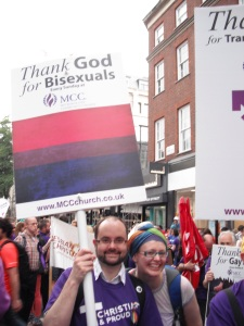 "Placard reads ""Thank God for Bisexuals"""